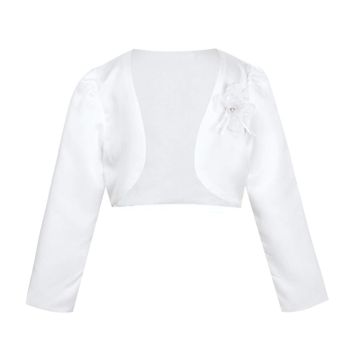 FEESHOW Kids Girls Long Sleeve Satin Bolero Shrug Jacket Short