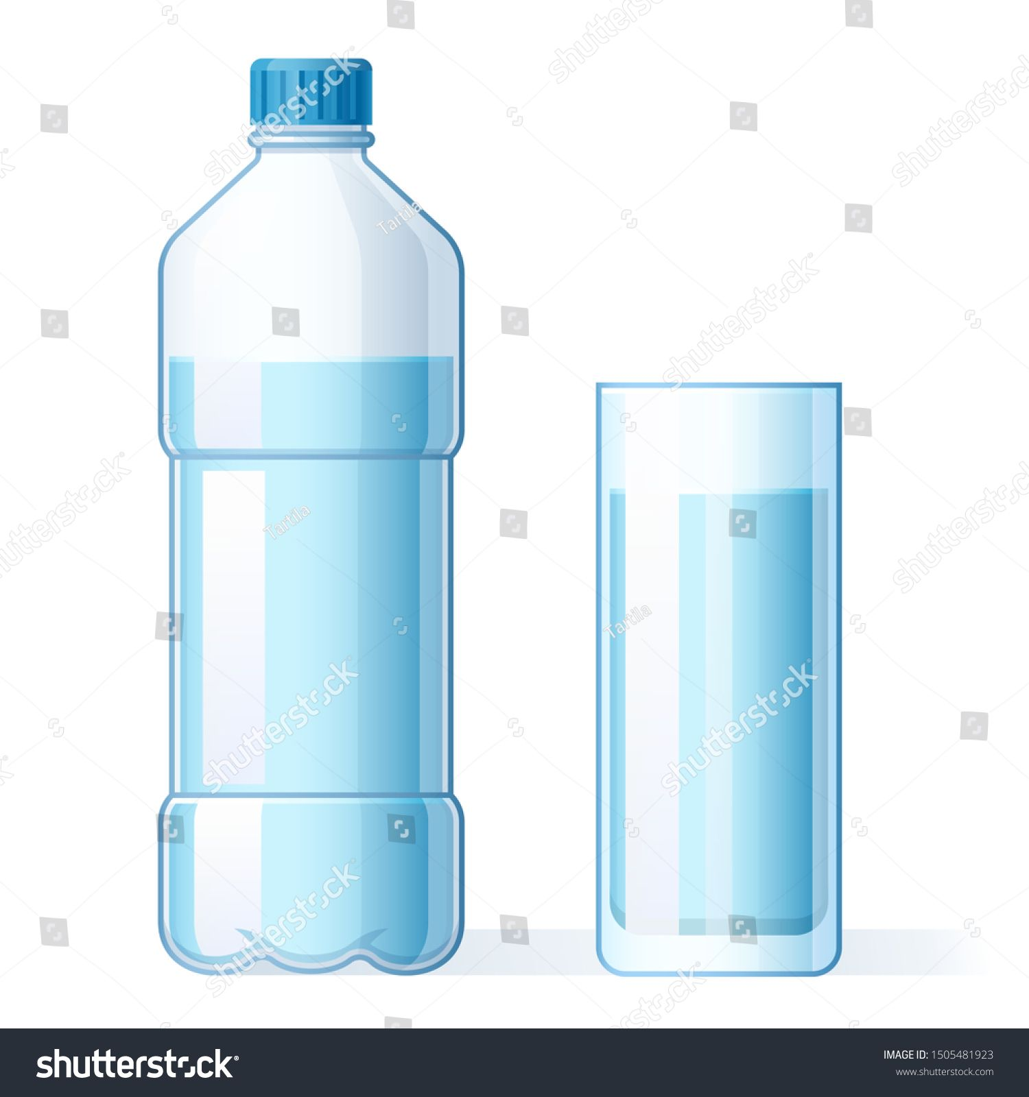 Glass of water and plastic bottle. Hydration, bottles for pure liquid and bottled mineral water drink. H2O aqua drink, water with drinking minerals in cup cartoon isolated vector illustration #Sponsored , #Aff, #pure#bottles#liquid#mineral