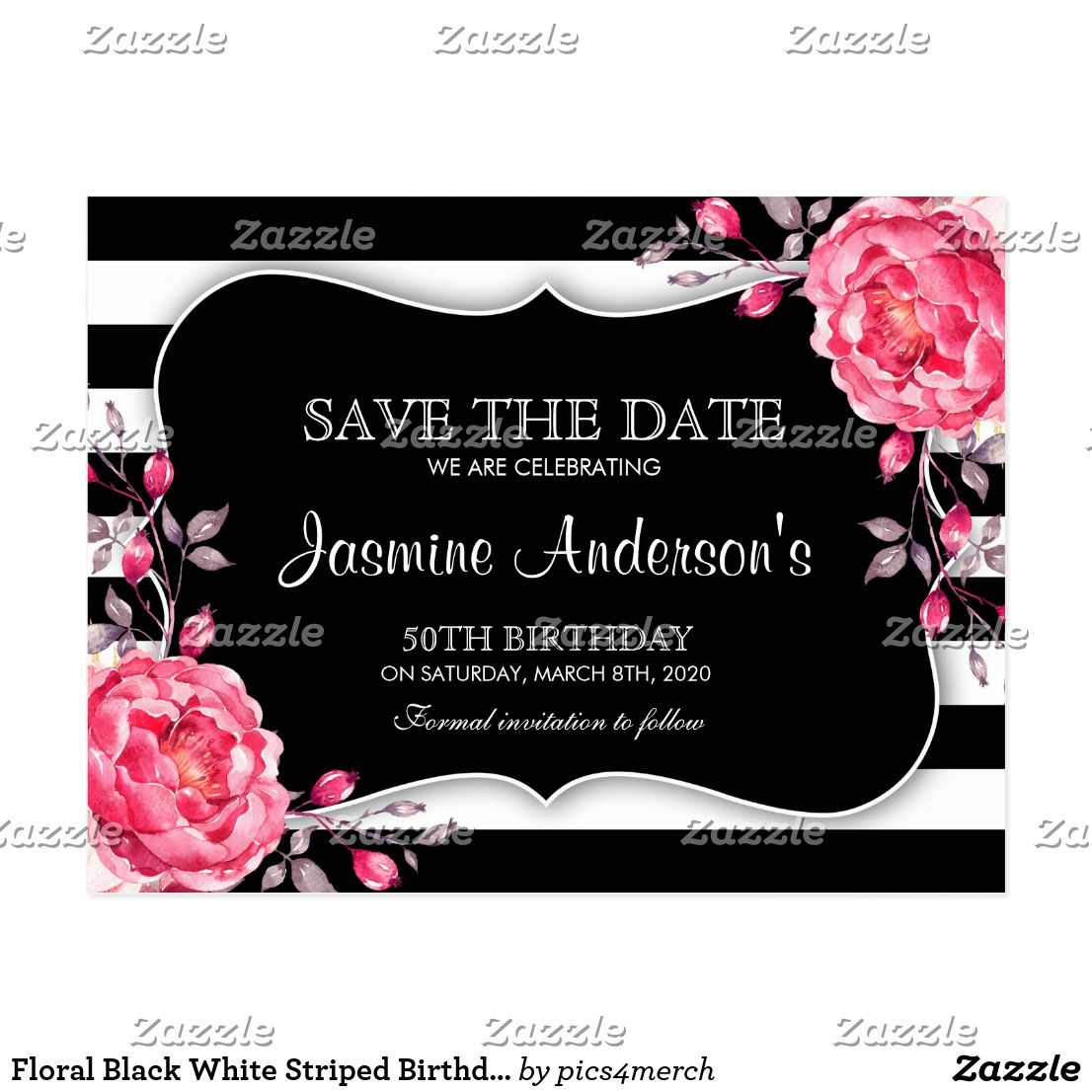 Floral Black White Striped Birthday Save The Date Postcard Th - Black and white striped birthday invitations