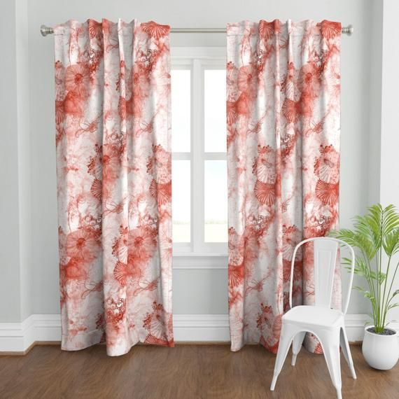 Coral Watercolor Curtain Panel Whimsical Fantasy Watercolor Etsy Panel Curtains Coral Watercolor Curtains