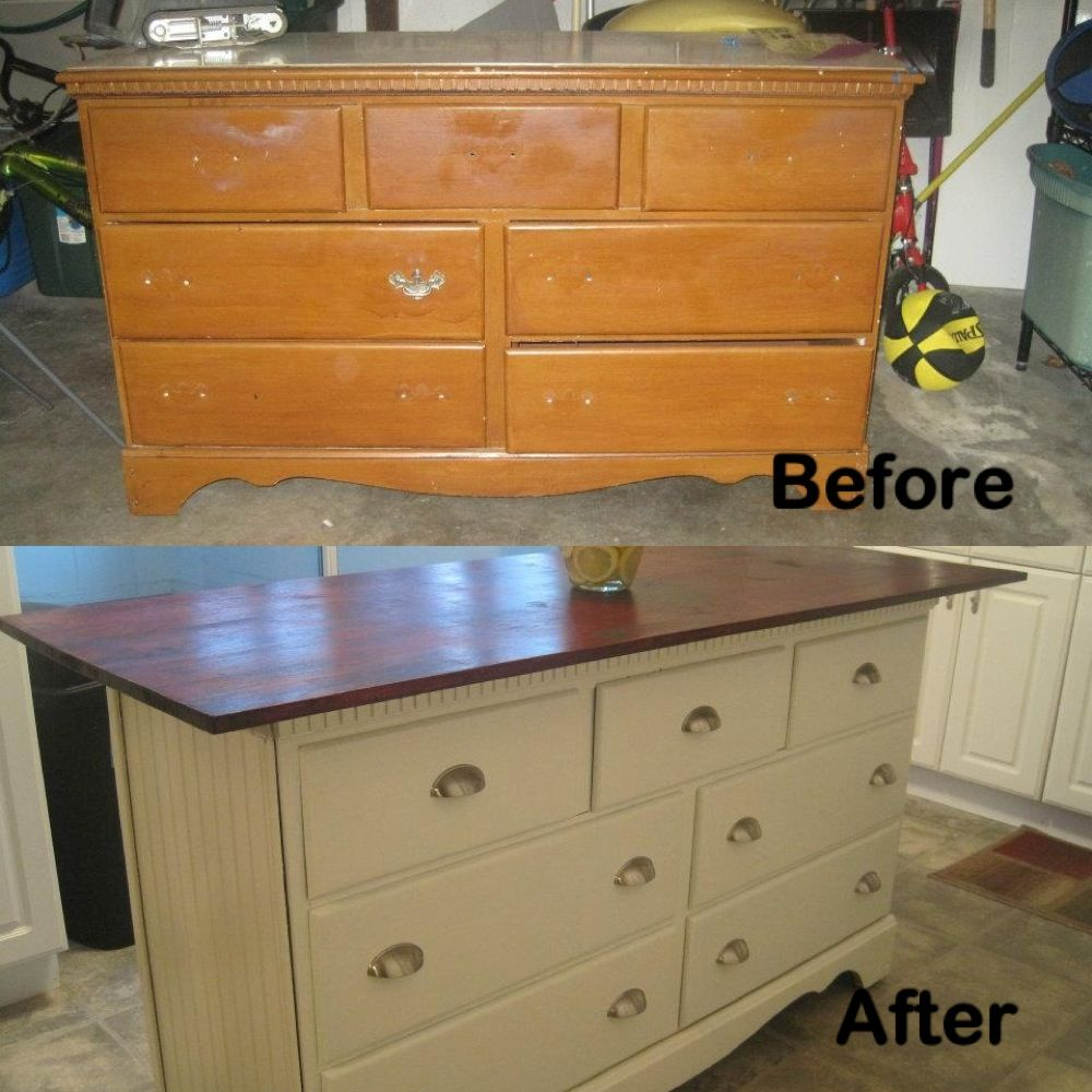 Kitchen Island Made From Old Desk: Old Dresser I Turned Into Kitchen Island
