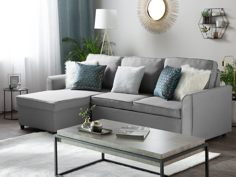 Right Hand Fabric Corner Sofa Bed with Storage Grey NESNA