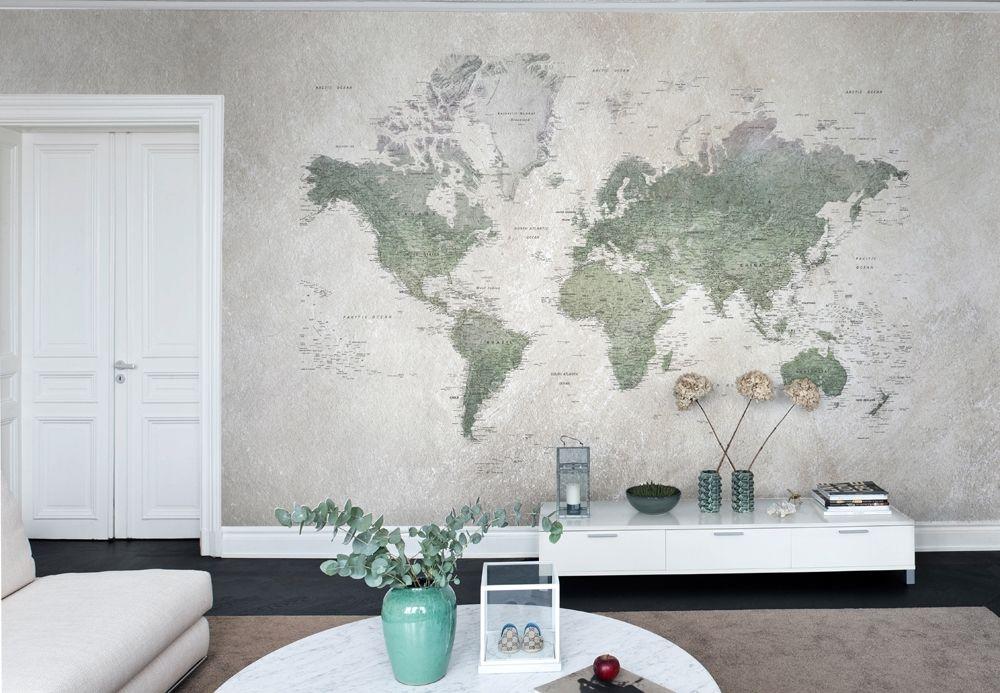 gammelt verdenskort til væggen