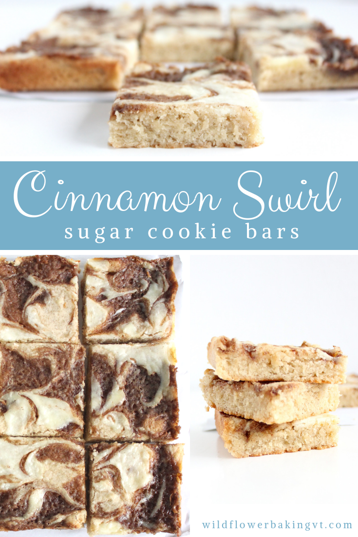 Cinnamon swirl cookie bars! Delicious cinnamon sugar cookie bars topped with cream cheese and cinnamon swirl! #cinnamonsugarcookies