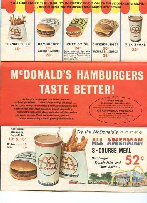 Mcdonald S 1965 Capital Beltway Map Golden Arches All American Meal Vintage Advertisements Vintage Menu Vintage Ads