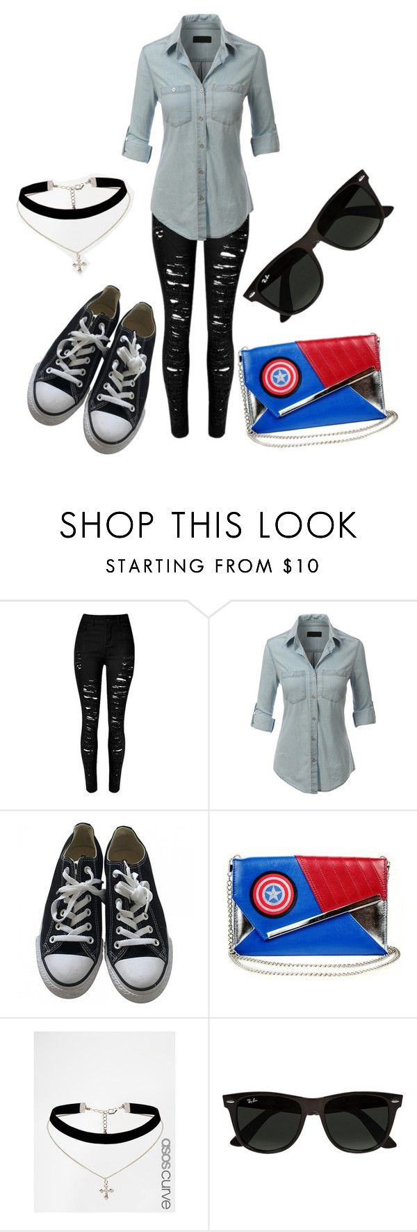 """Normal day"" by jj1197 ❤ liked on Polyvore featuring LE3NO, Converse, Marvel Comics, ASOS Curve and Ray-Ban"