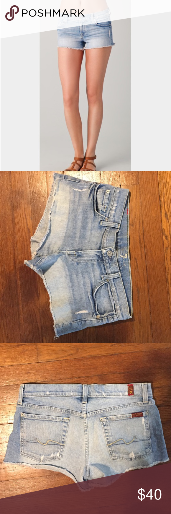 """7 For All Mankinds cutoff Denim shorts 7 For All Mankinds cutoff Denim shorts. Size 27. 3"""" inseam. Light wash 7 For All Mankind Shorts Jean Shorts"""