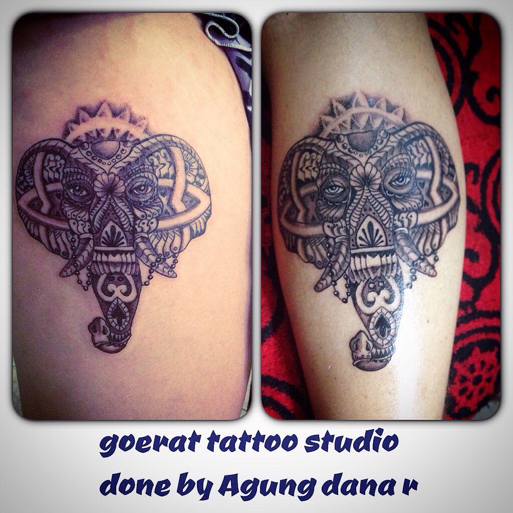 outline work Elephant Tattoo done by Agung Dana Goerat