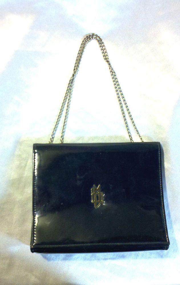Nice Fashion Accessory Rare Vintage 80s Black Vinyl Handbag Chain Handles Pvc Patent Leather Goth