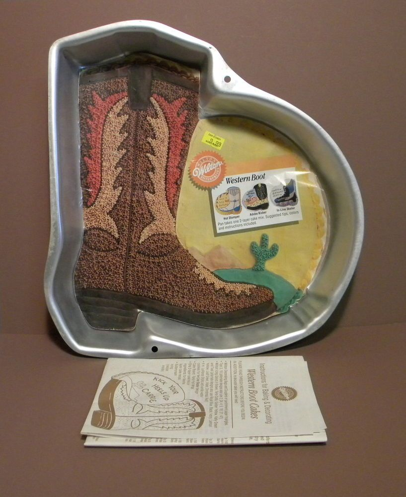 Wilton WESTERN BOOT Cake Pan Mold w/ Insert Country COWBOY Dance ...