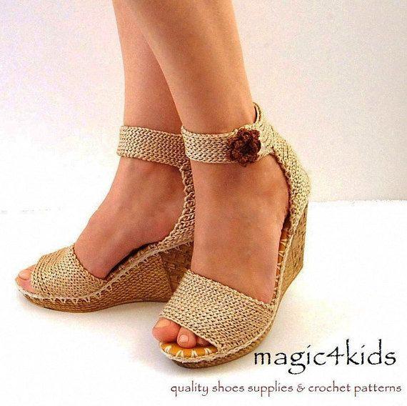 3b4ce159b Al aire libre crochet cuñas sandalias mujer crochet. Sandalias cuñas  hermosas mujeres crochet sandalias por magic4kids