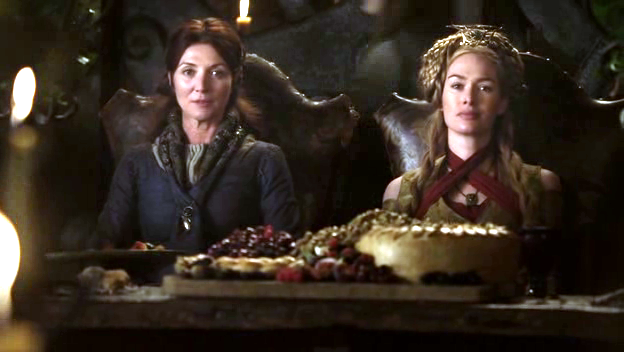 Queen Cersei arrives and offers Catelyn a job in Queen's Landing. As Hand of the Queen, Catelyn will receive a full salary, starting bonus, dental care, and paid maternity leave for as long as she maintains the position.
