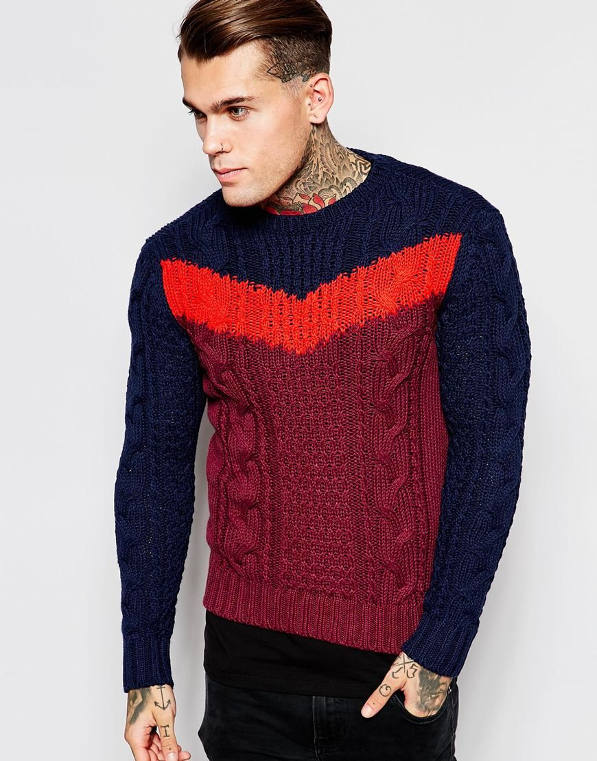 New In Clothing for Men. Diesel Crew Knit Jumper K-Patton Chevron Cable 07207ebd4cf1