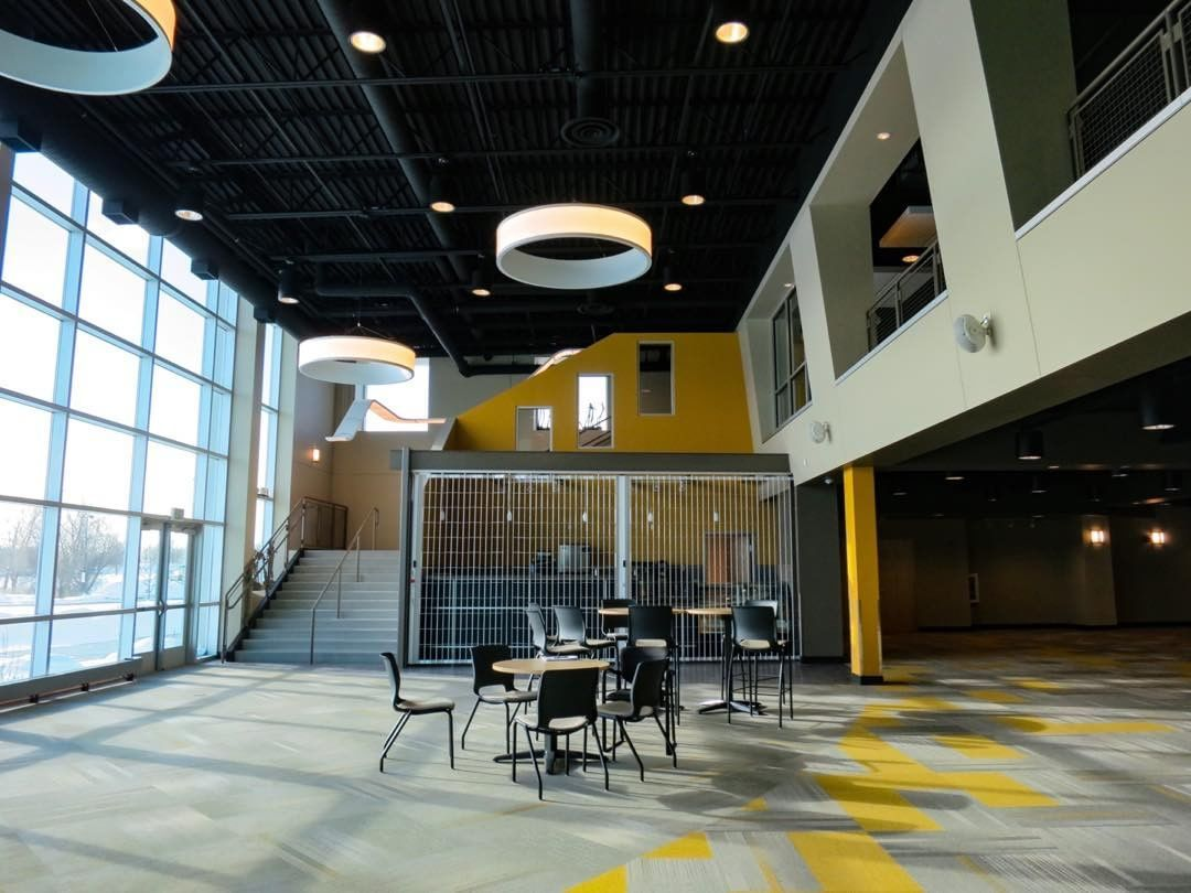 School Lobby Addition At New Life Academy Woodbury Mn Curtainwall Carpet Tile Circular Ceiling Clouds Black Out