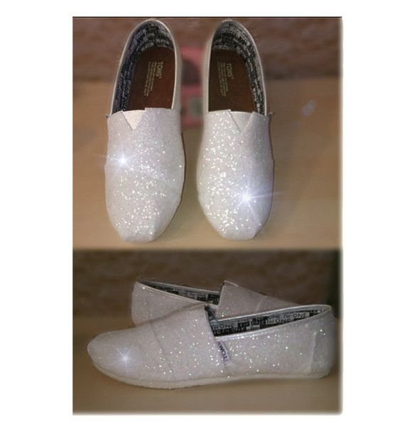 9b01a5d3d62 Womens Sparkly White or Ivory Glitter Toms Flats shoes Handmade for Bride  Wedding