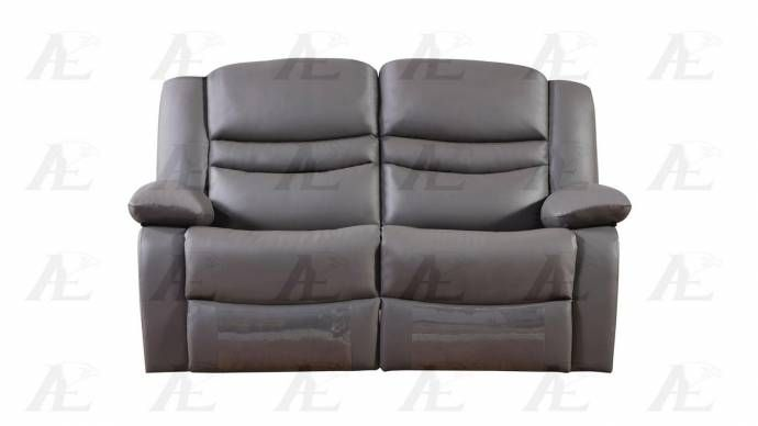 American Eagle Ae D823 Dark Gray Modern Faux Leather Sofa Set With Recliner 3pcs Dg 3 Online