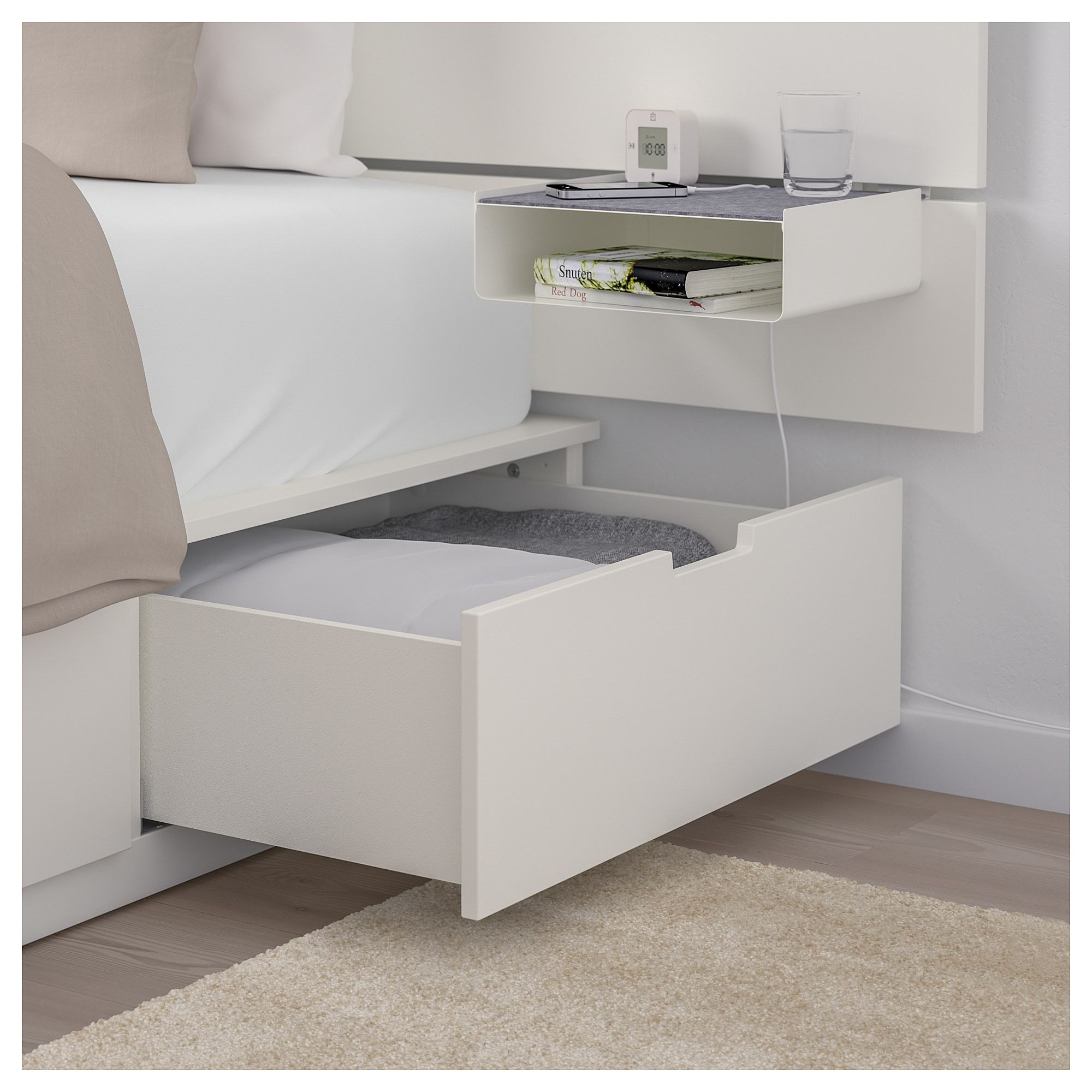 Ikea Nordli Bed With Headboard And Storage White Home
