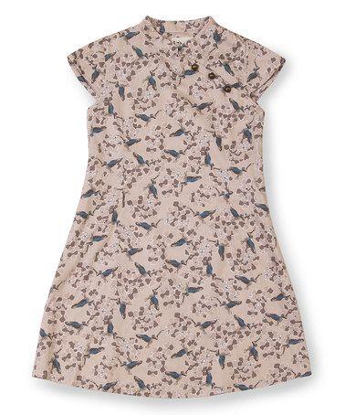 Another great find on #zulily! Beige Bird Annam Cap-Sleeve Dress - Toddler & Girls #zulilyfinds