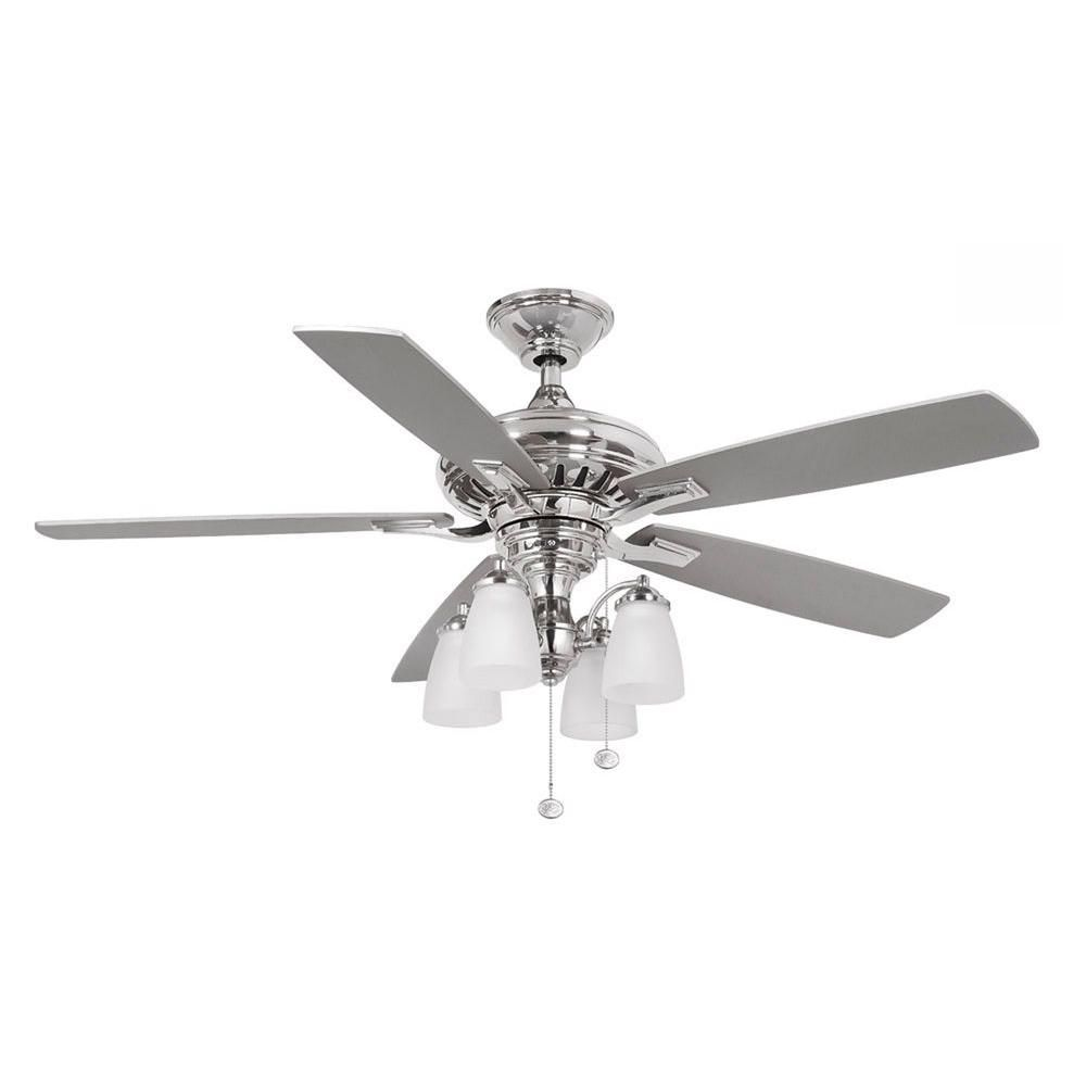 Hampton Bay Bristol Lane 52 In Indoor Polished Nickel Ceiling Fan With Light Kit 14950 With Images Fancy Ceiling Fan Ceiling Fan Gray Ceiling Fan
