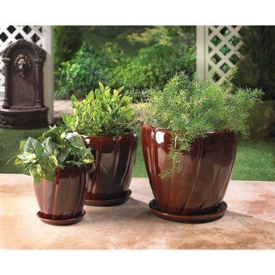 3 Large Flower Pots Ceramic Planters Plant Holders Dark