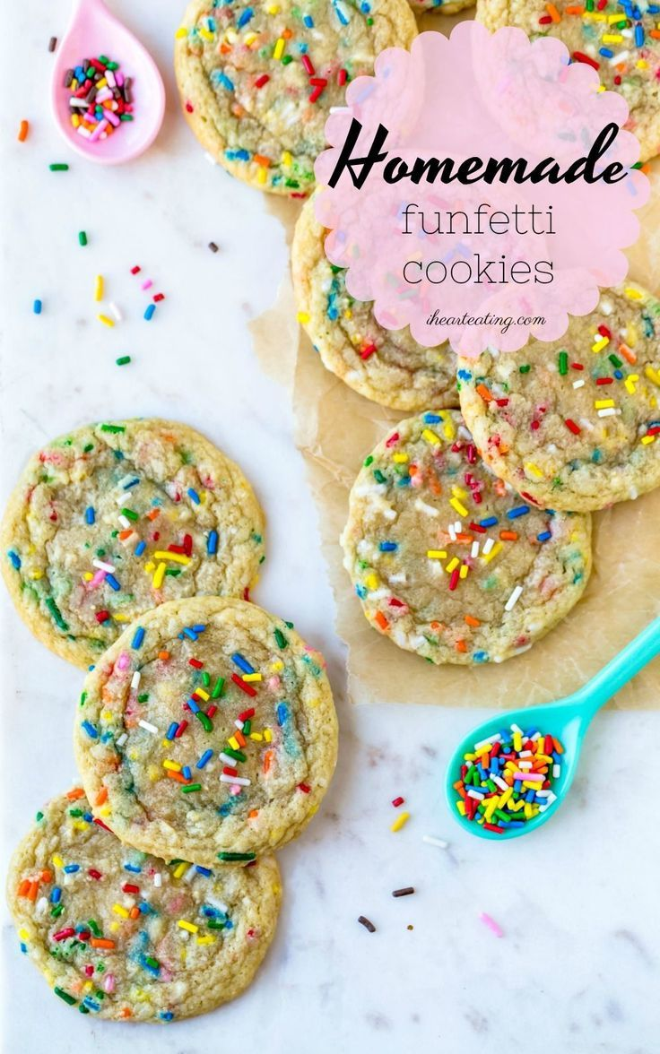 Soft vanilla butter cookies that are filled with sprinkles! No mixer, chilling, or cake mix needed for these homemade funfetti cookies! #sprinkles #cookies #funfetti #recipe #easy #homemade #dessert #ihearteating