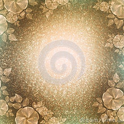 Vintage Wallpaper Floral Vignette Light Brown Beautiful Background In The Old Style With A Bright Center And Darkened Edge Pattern