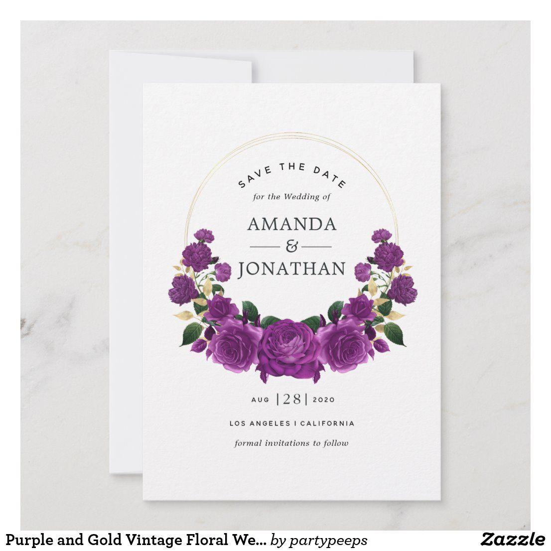Purple And Gold Vintage Floral Wedding Save The Date Zazzle Com In 2020 Floral Wedding Save The Dates Wedding Saving Wedding Save The Dates