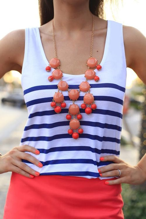 Have this necklace & top, now just have to put them together!!!! Love stripes & coral!