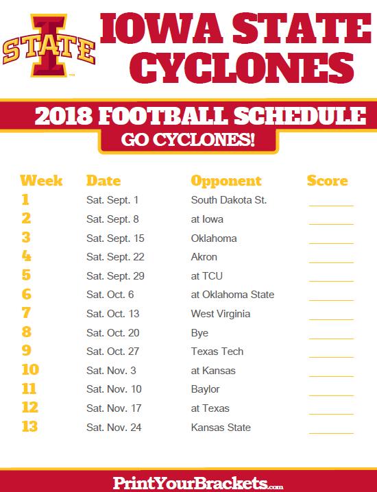2019 Iowa State Football Schedule 2018 Printable Iowa State Cyclones Football Schedule | Printable