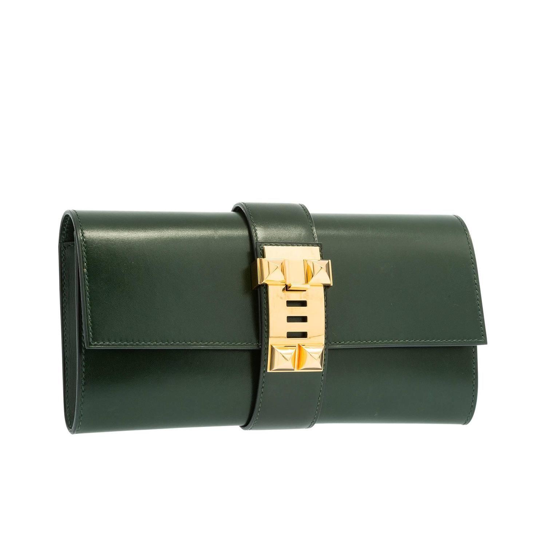 1b9f19167cb1 Hermes 23cm Vert Fonce Calf Box Leather Medor Clutch Bag with Gold Hardware