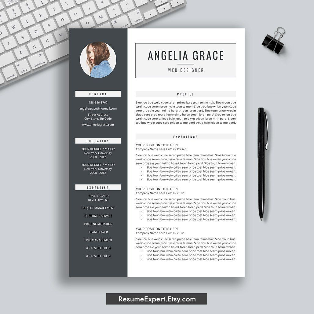 Professional Resume Template, Cover Letter, CV Template, 3