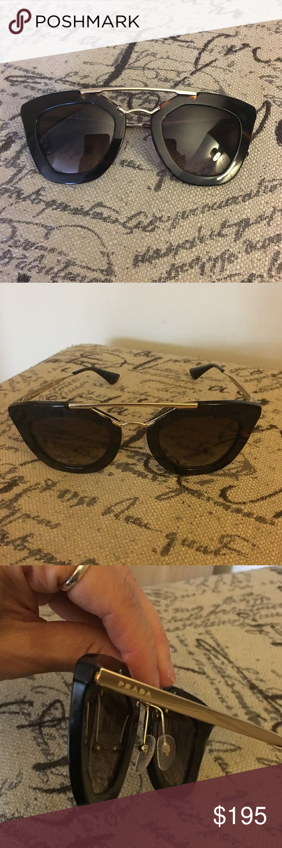 New authentic Prada shades sunglasses nwt New authentic old fashion Jackie o Prada wear. Summer shades sunglasses dark to light brown gold trim around . I had my niece put them on so u can see the length. No case as is no damage no scratches. prada  Accessories Sunglasses