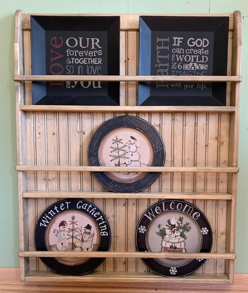 Wall Bookshelf or Plate Rack Hanging Shelf Wall Charging Station