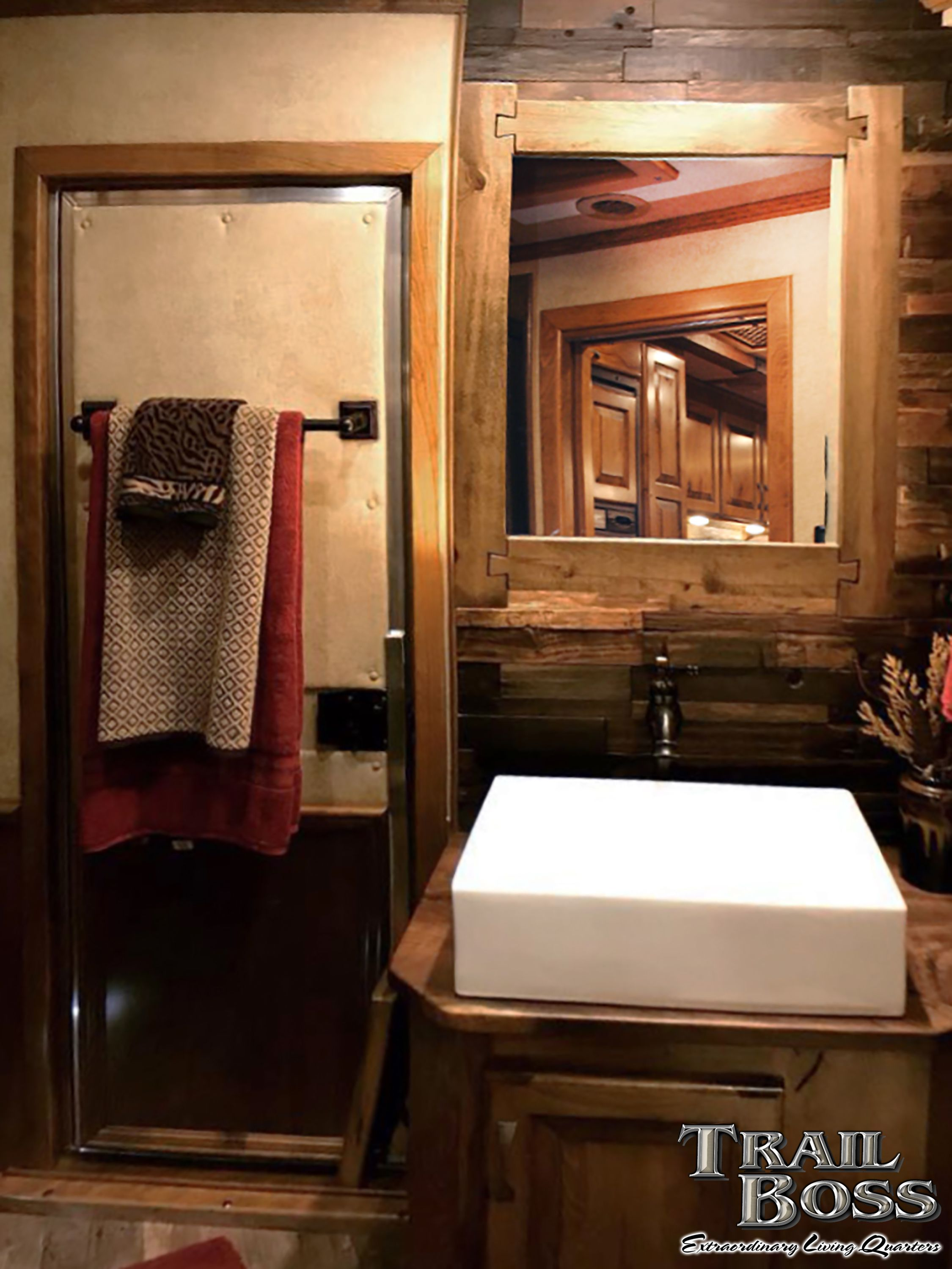 This Rustic Farmhouse Style Bathroom In An Elite Horse Trailer With Living Quarters By Trail Boss Feat Bathroom Farmhouse Style Luxury Living White Vessel Sink