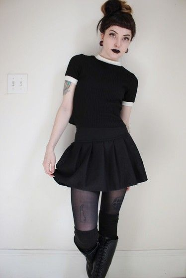 Samantha Elise - Brandy Melville Usa Sweater Top, Dresslink Cheap Skirt, Dresslink Over The Knee Socks, Dr. Martens 20 Hole, Black Tights - Birthday