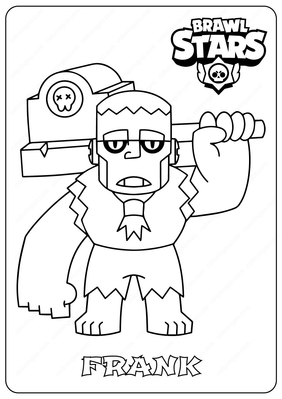 Brawl Stars Frank Pdf Coloring Pages Coloring Pages Star Coloring Pages Brawl