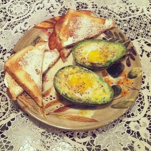 Baked egg in avocado mmmm