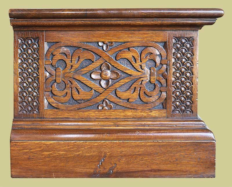 Oak Tv Stand With Hand Carved Elizabethan Style Strapwork Carved End