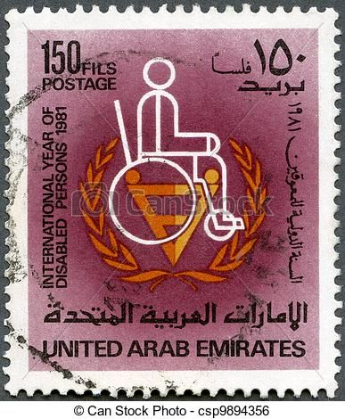Wheelchair Emirates Hydraulic Stool Chair Stock Illustration United Arab Circa 1981 A Stamp Printed In Uae Shows Man International Year Of Disabled Persons Series