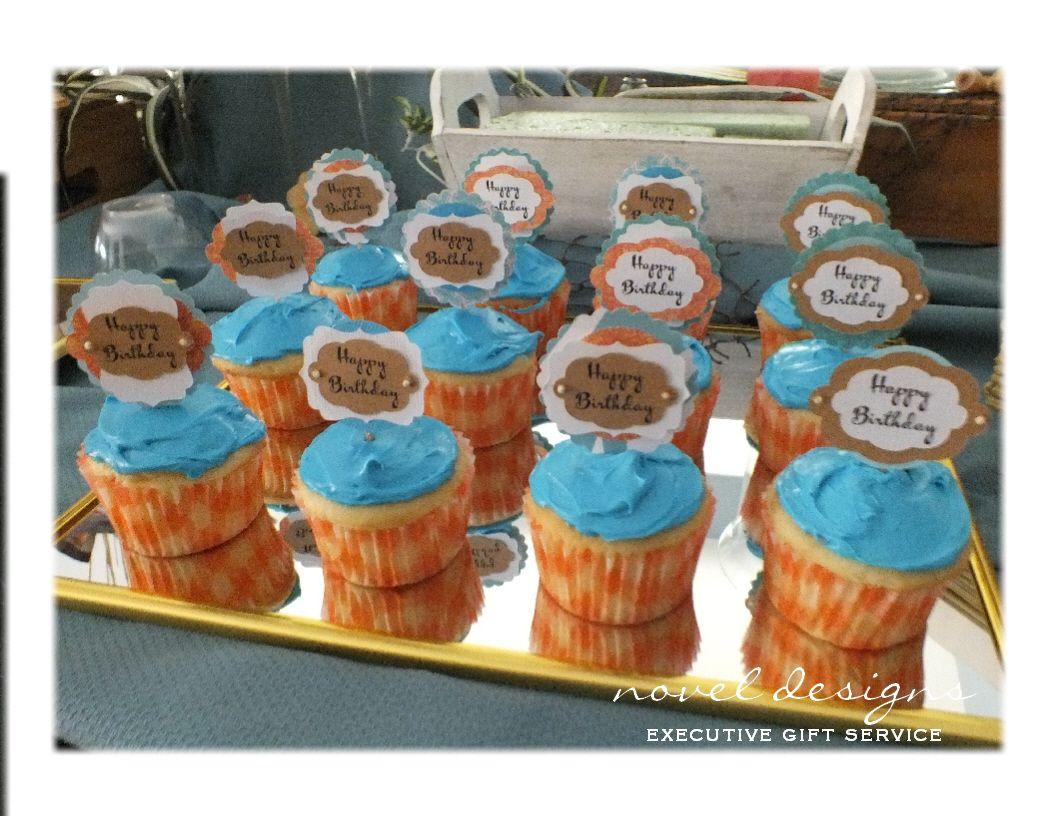 50th Birthday Tropical Beach Theme Custom Layered Cupcake
