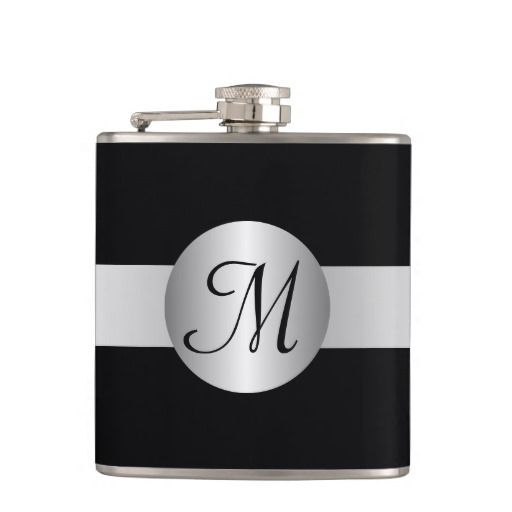 Monogrammed Silver Colored Circle Hip Flasks