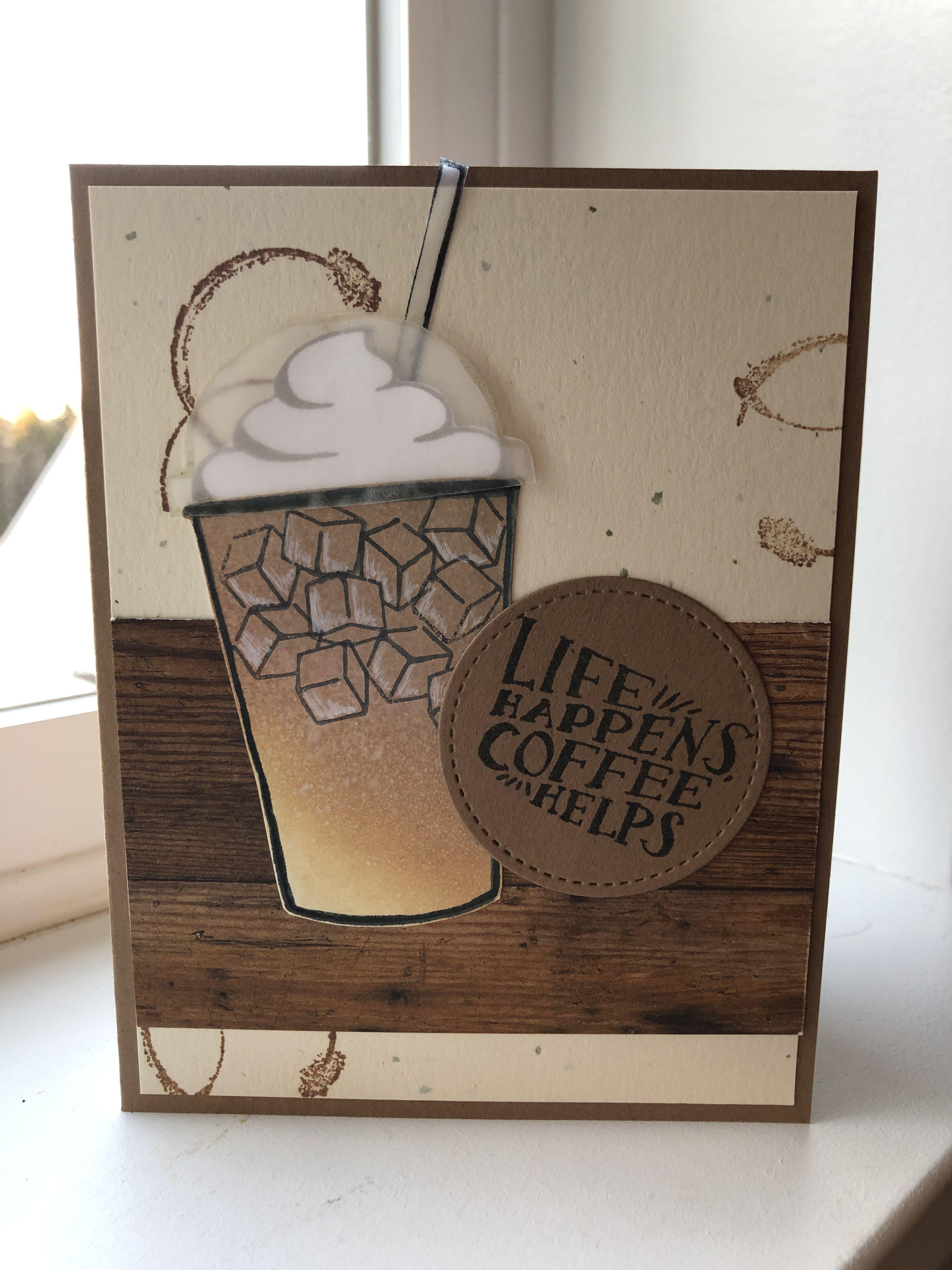 Как сделать открытку кофе, днем