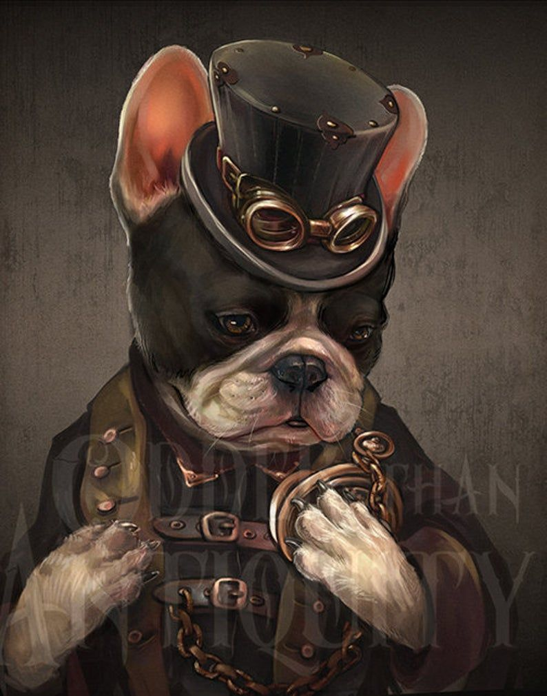 Abigale The Boston Terrier Art Victorian Lady Steampunk Abstinthe Illustration Painted Bar Portrait Poster Print 4 Sizes Available In 2020 Bulldog Art Animal Portraits Art French Bulldog Art