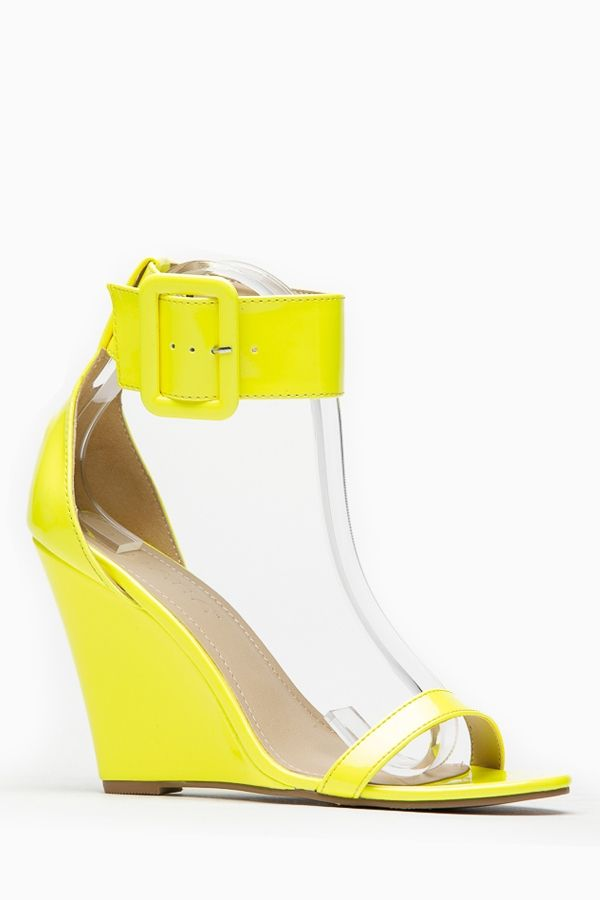 ecc2727c987 Liliana Yellow Single Sole Ankle Strap Wedge   Cicihot Wedges Shoes Store Wedge  Shoes