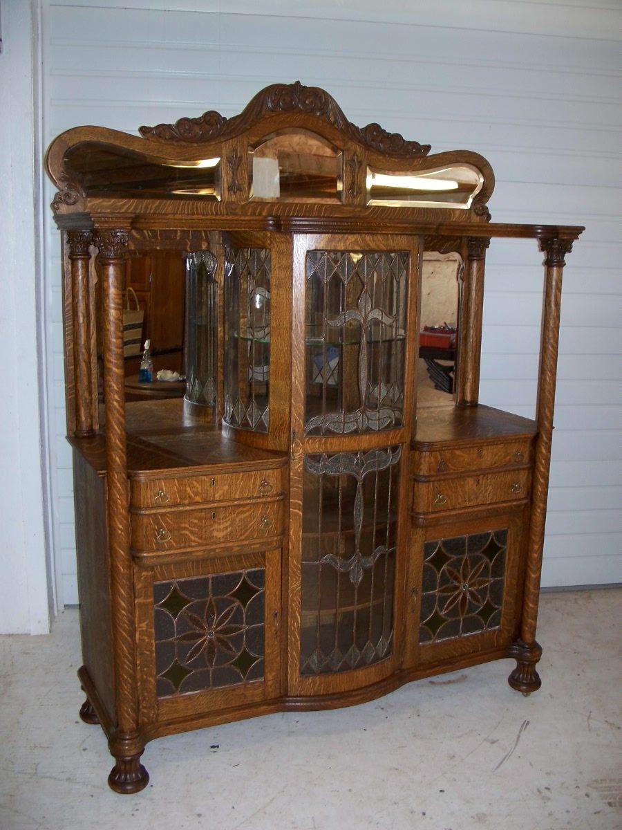 Beautiful Antique American Oak Leaded Glass China Buffet ...