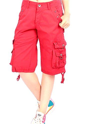 3453faa7d3 Papijam Women's Multi Pocket Baggy Soft Knee Length Cargo Shorts ...