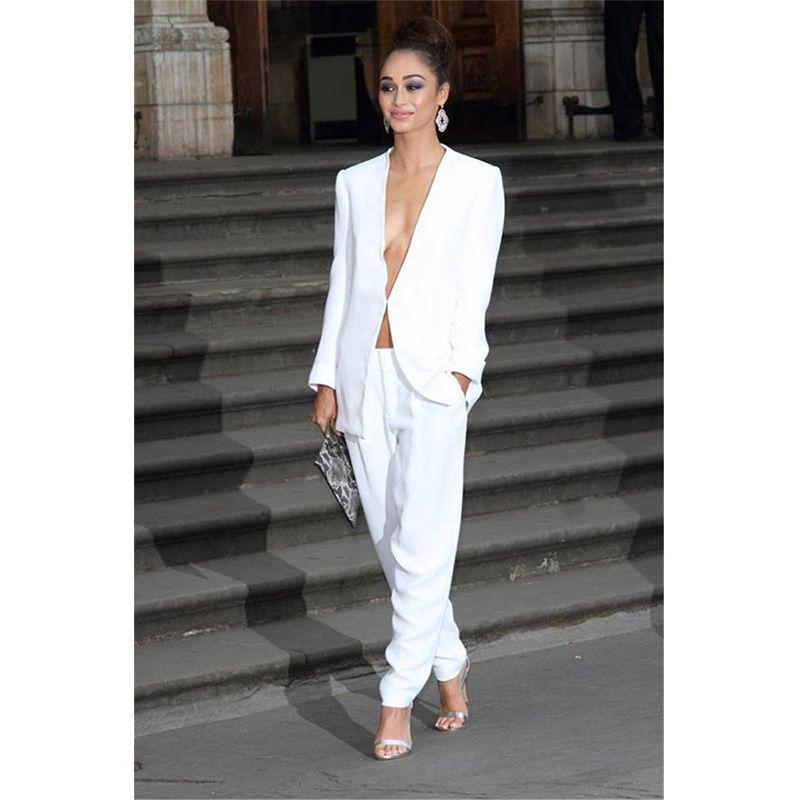 Female Office Uniform 2 Pieces Set Womens Business Suits Ivory Pants Suit  Formal OL Business Suit Long Sleeve Trouser Suit 895508097e72