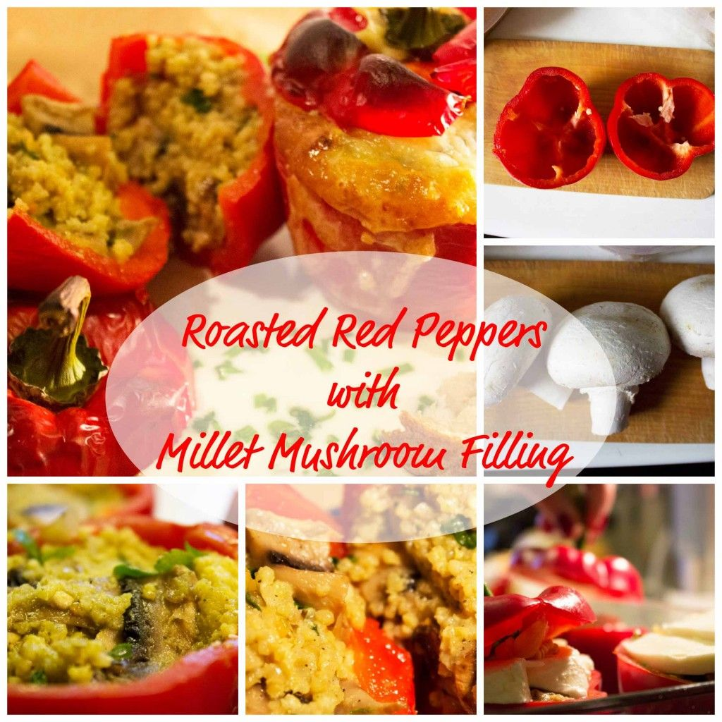 Roasted Red Peppers with Millet Mushroom Filling Come check out yummspiration.com for more vegan recipes! We are also on facebook.com/yummspiration so come and exploit our vegan goodness!