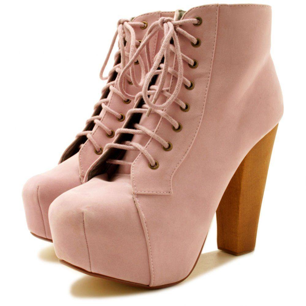 Ashley Lace Up Wooden Block Heel Concealed Platform Ankle Boots