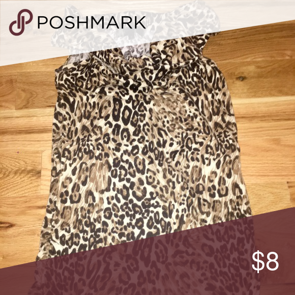 Leopard Tank Top Leopard tank too for nice going out occasion. great condition worn only once. Has scoop neck top. mandee Tops Tank Tops